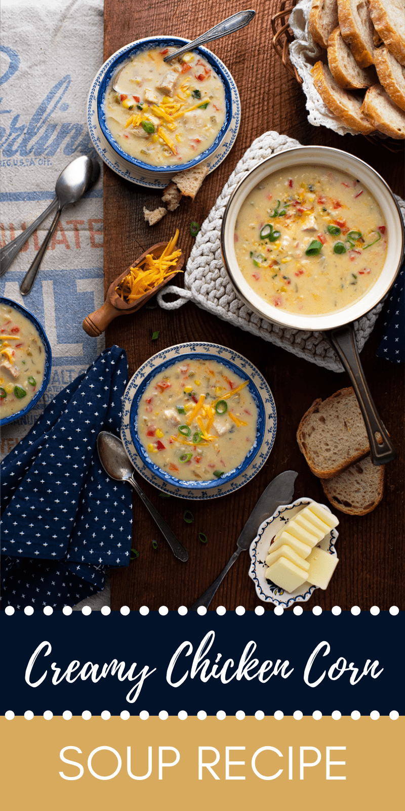 Creamy Chicken Corn SOup Pin  - Comforting Creamy Chicken Corn Soup with a Hint of Heat