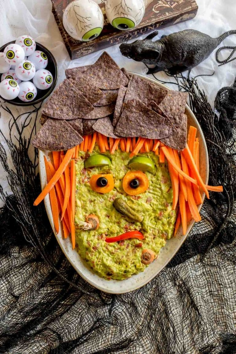 Halloween Guacamole 6 768x1152 1 - Ghoulishly Good! Halloween Party Recipes and Ideas