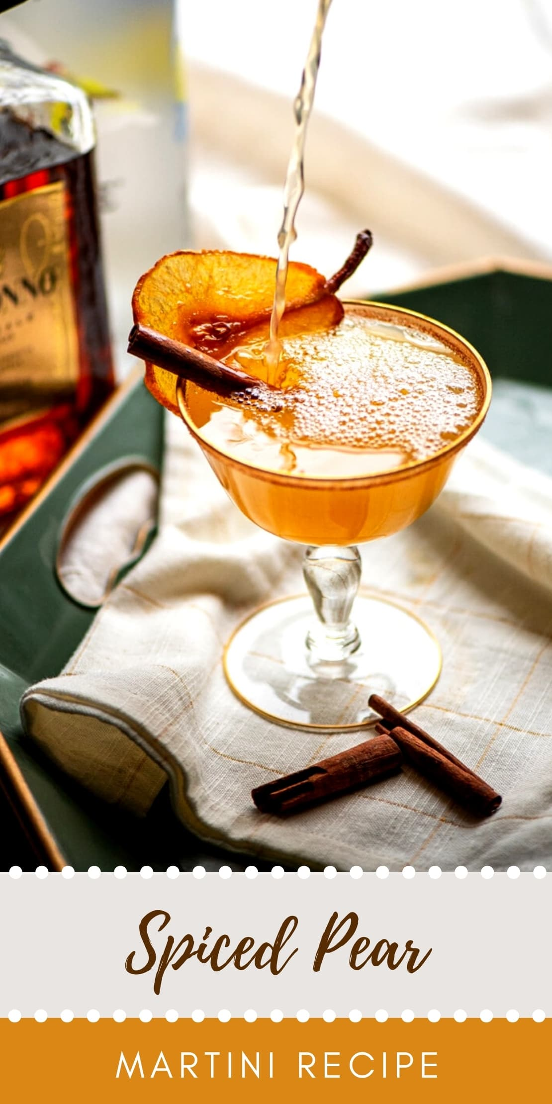 Spiced Pear Martini - Spiced Pear Martini with Amaretto and Cardamom Bitters