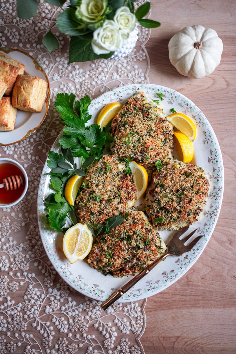 Thanksgiving DInner 0813 800px - Panko Crusted Turkey Cutlets with Herbs and Country Sausage