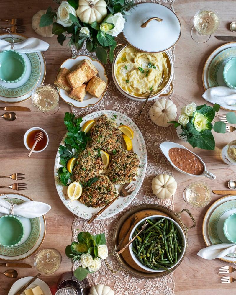 Thanksgiving Dinner 0720 800px - Garlic Sour Cream Mashed Potatoes