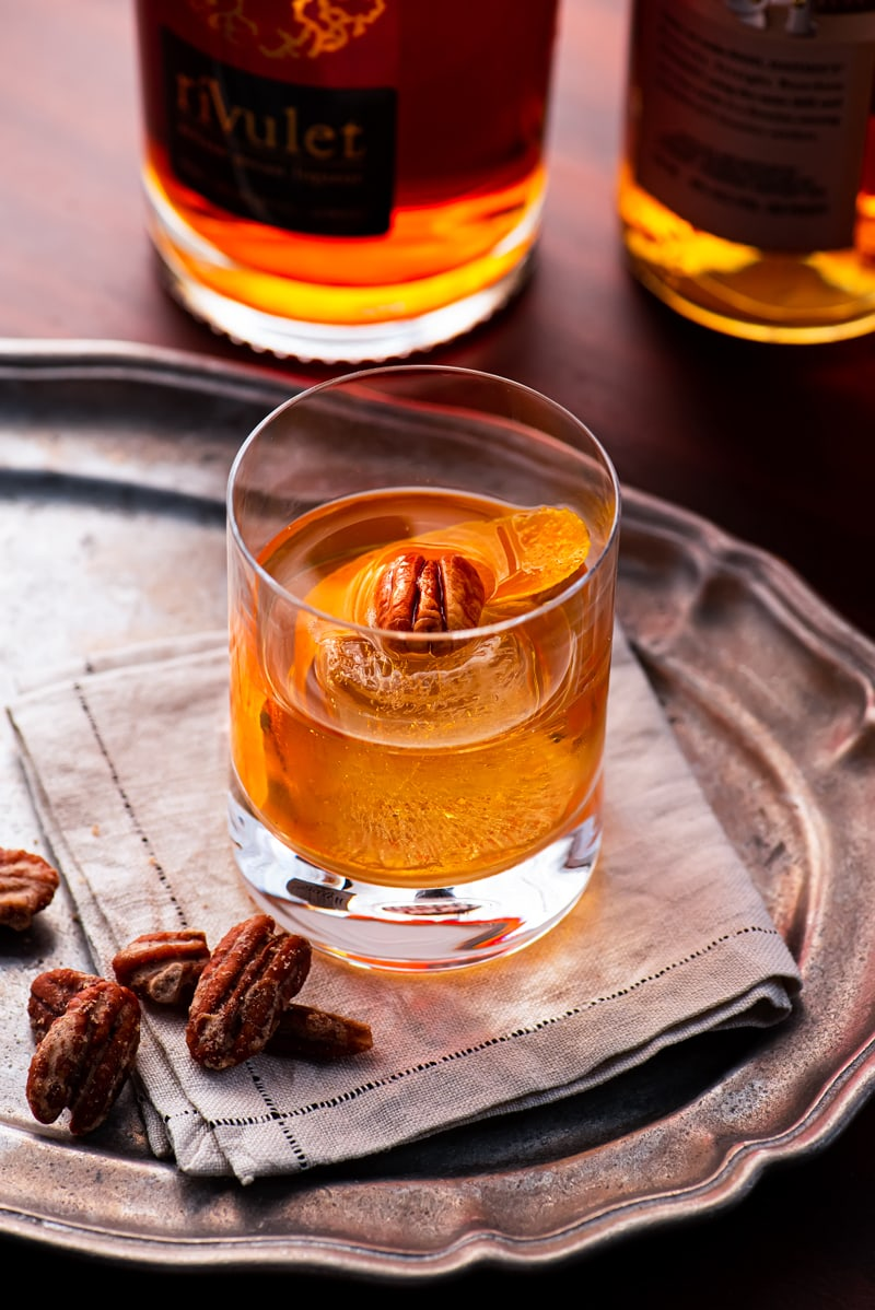 Pecan Bourbon Old Fashioned 1736 800px - Pecan Bourbon Old Fashioned Cocktail Recipe