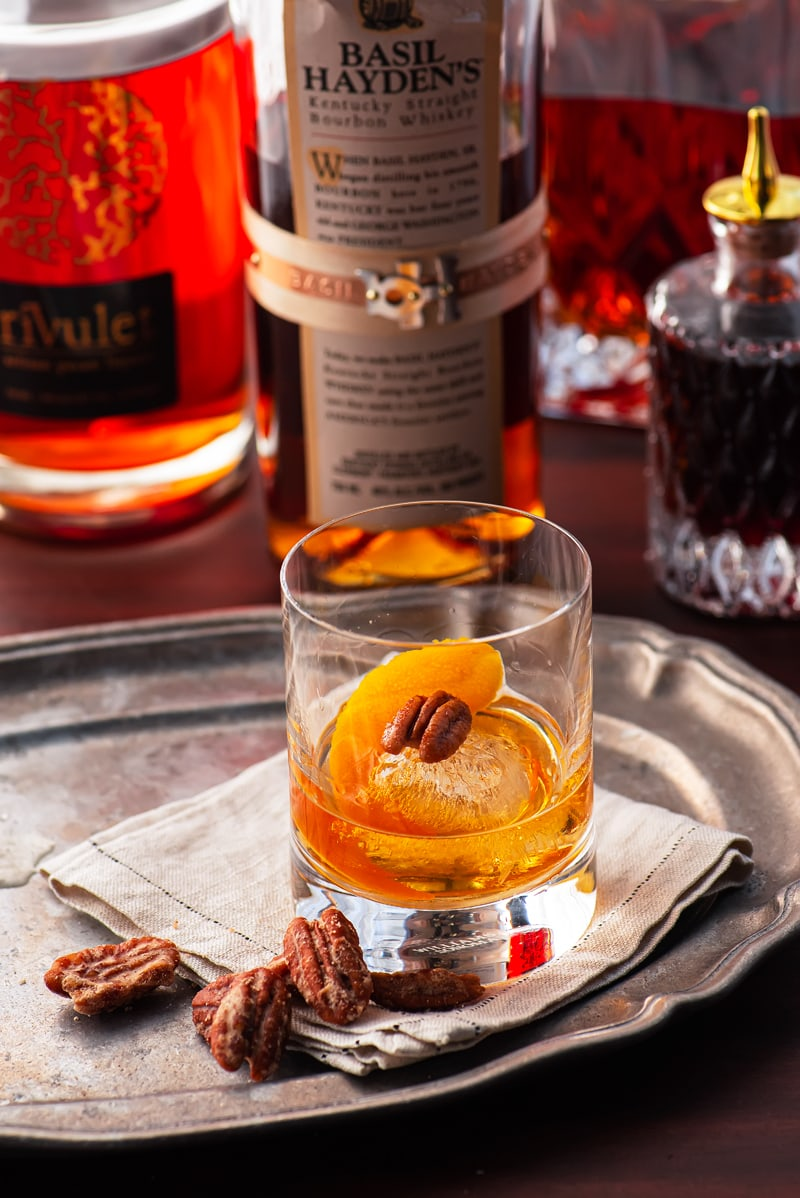 Pecan Bourbon Old Fashioned 1756 800px - Pecan Bourbon Old Fashioned Cocktail Recipe